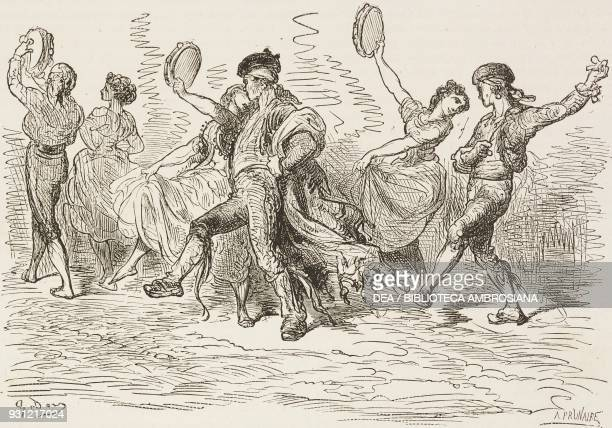 Majos and majas returning from Rocio fair near Seville Spain drawing by Dore from Travels in Spain by Gustave Dore and Jean Charles Davillier from Il...