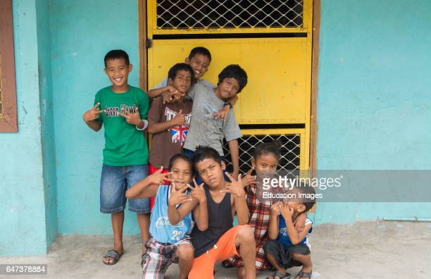 Majuro Marshall Islands children portrait outside of school with smiles