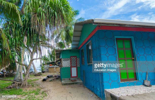 Majuro Marshall Islands colorful local homes in capital city