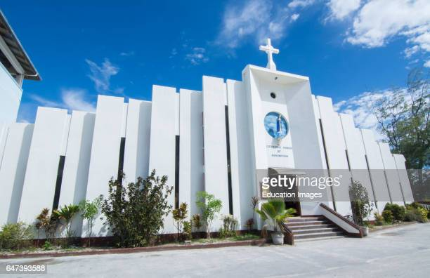 Majuro Marshall Islands white church Cathedral Parish of Assumption with cross