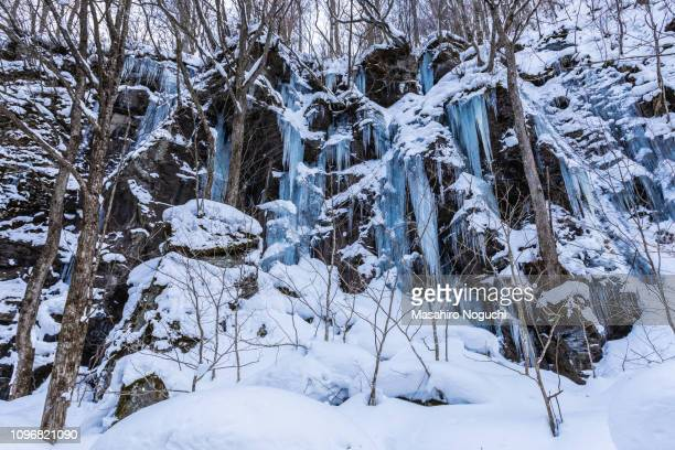 makado rock, oirase, japan, in winter - aomori prefecture stock pictures, royalty-free photos & images