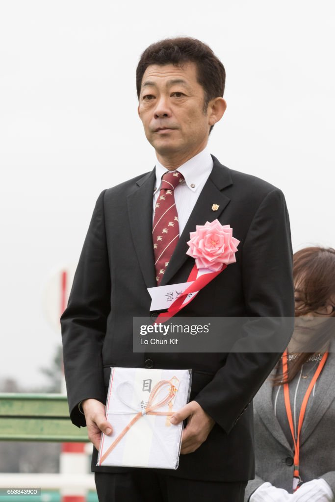 Makahiki's trainer Yasuo Tomomichi at the presentation ceremony after winning the Race 11 Yayoi Sho - Japanese 2000 Guineas Trial (G2 2000m) at Nakayama Racecourse on March 6, 2016 in Funabashi, Chiba, Japan.