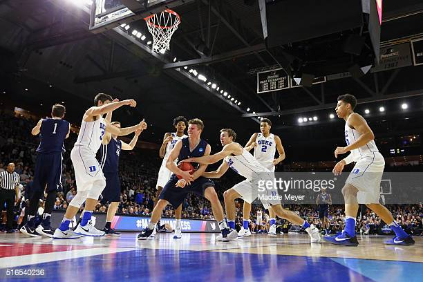 Makai Mason of the Yale Bulldogs handles the ball in the second half against the Duke Blue Devils during the second round of the 2016 NCAA Men's...