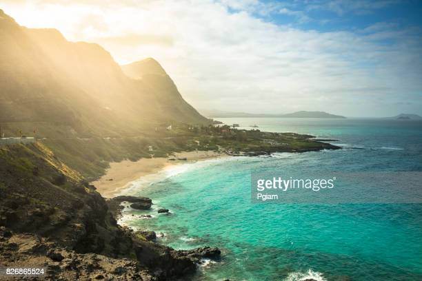 makapu'u beach in oahu hawaii usa - isole hawaii foto e immagini stock