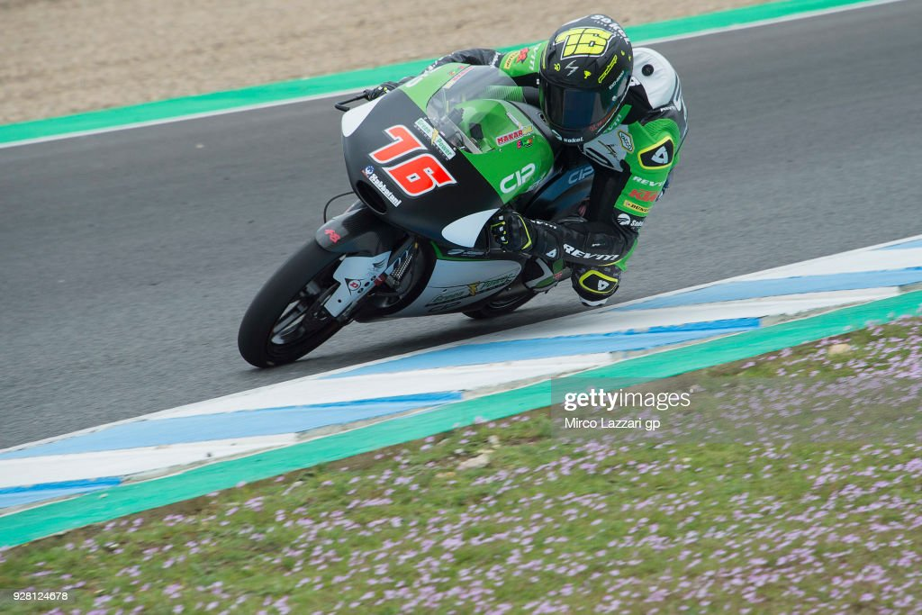 Makar Yurchenko of Kazakhstan and CIP Green Power KTM rounds the bend during the Moto2 & Moto3 Tests In Jerez at Circuito de Jerez on March 6, 2018 in Jerez de la Frontera, Spain.