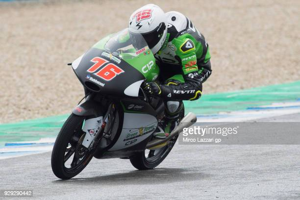 Makar Yurchenko of Kazakhstan and CIP Green Power KTM rounds the bend during the Moto2 Moto3 Tests In Jerez at Circuito de Jerez on March 8 2018 in...