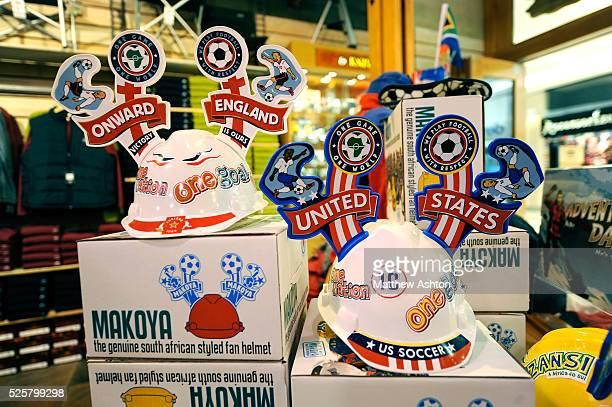 A Makarapa for England and USA on sale in the Sandton City Shopping Mall Johannesburg The Makarapa is a South Africa football hats made from a miners...