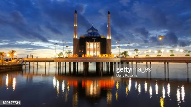 makassar floating mosque. - makassar stock pictures, royalty-free photos & images