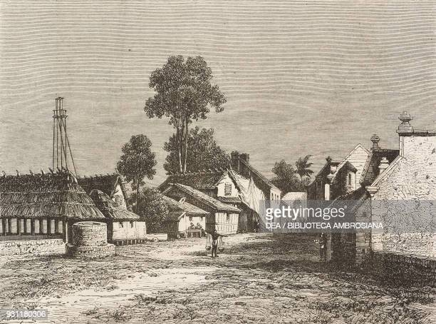 Makassar village Sulawesi island drawing by Hubert Clerget from The Malay Archipelago 18611862 by Alfred Russell Wallace from Il Giro del mondo...
