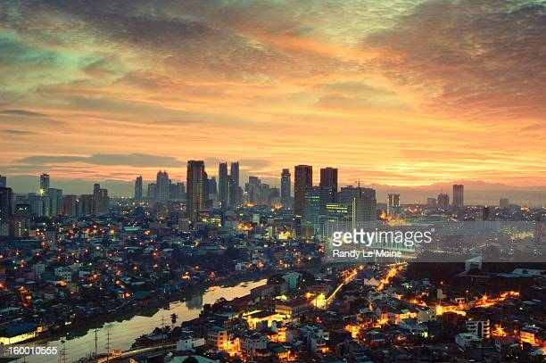 makati city skyline - makati stock photos and pictures