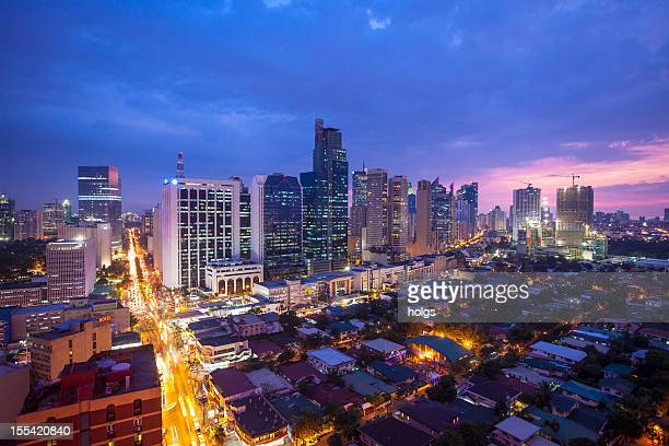 makati manila skyline - makati stock photos and pictures