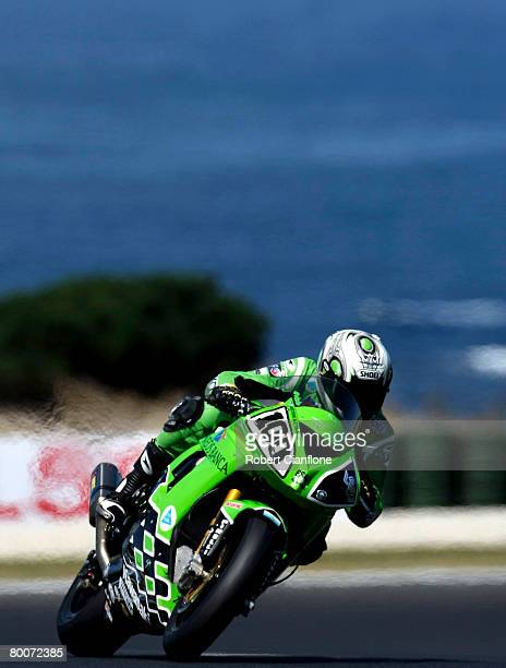 Makato Tamada of Japan and Kawasaki PSG1 Corse in action during qualifying practice for round two of the Superbike World Championship at the Phillip...