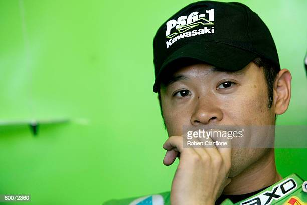 Makato Tamada of Japan and Kawasaki PSG1 Corse prepares for the Superpole qualifying session for round two of the Superbike World Championship at the...