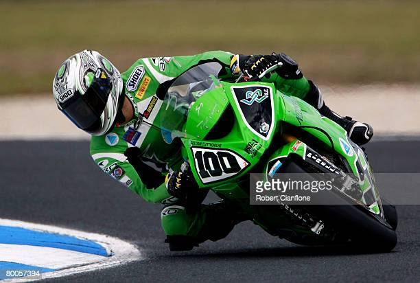 Makato Tamada of Japan and Kawasaki PSG1 Corse takes a corner during practice for round two of the Superbike World Championship at the Phillip Island...