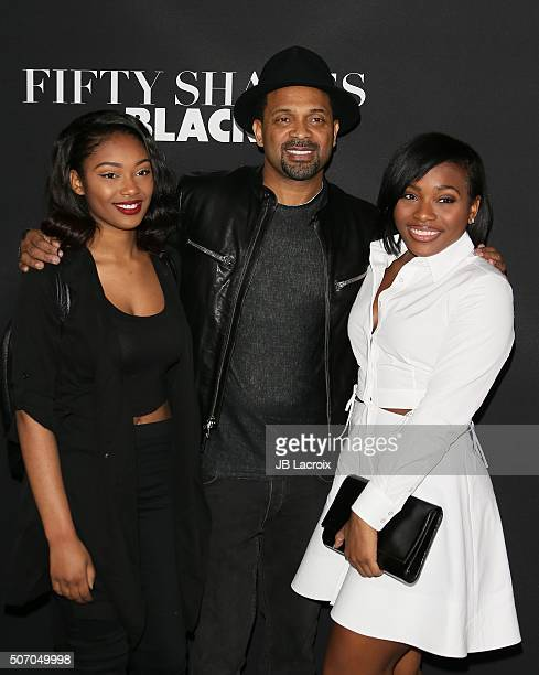 Makayla Epps Mike Epps and Bria Epps arrive for the premiere of Open Roads Films' 'Fifty Shades Of Black' held at Regal Cinemas LA Live on January 26...