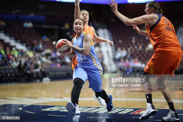 Makayla Epps of the Chicago Sky drives to the basket during the Connecticut Sun Vs Chicago Sky WNBA pre season game at Mohegan Sun Arena on May 2...