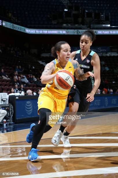 Makayla Epps of the Chicago Sky handles the ball during a game against the New York Liberty on May 3 2017 at Mohegan Sun Arena in Uncasville...