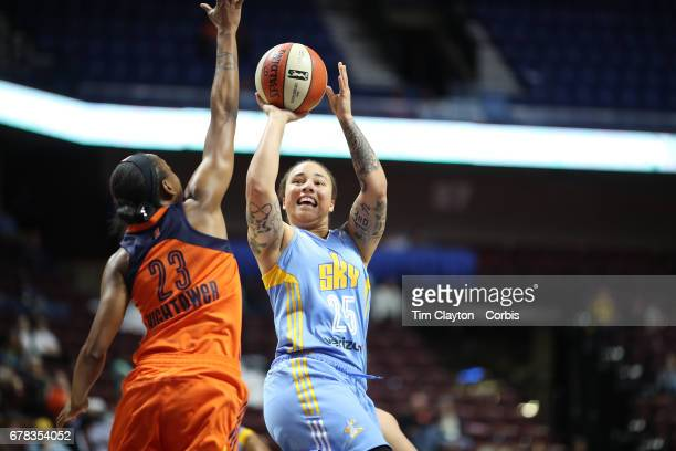 Makayla Epps of the Chicago Sky shoots over Allison Hightower of the Connecticut Sun during the Connecticut Sun Vs Chicago Sky WNBA pre season game...