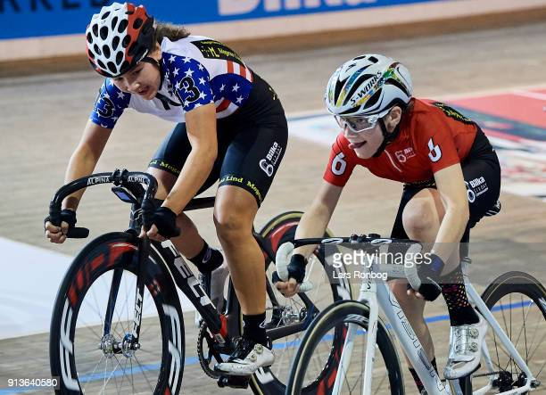 Makayla MacPherson of USA and Noah Skov Nielsen of Denmark in action during the Mini 6 Days during day three of the Bilka Six Day Copenhagen bike...