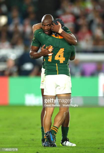 Makazole Mapimpi of South Africa celebrates with teammate Cheslin Kolbe after scoring his team's first try during the Rugby World Cup 2019 Final...