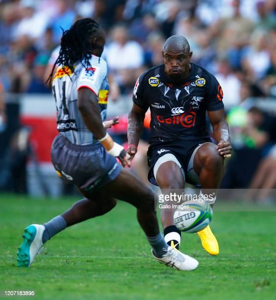 Makazole Mapimpi of the Cell C Sharks during the Super Rugby match between Cell C Sharks and DHL Stormers at Jonsson Kings Park Stadium on March 14,...