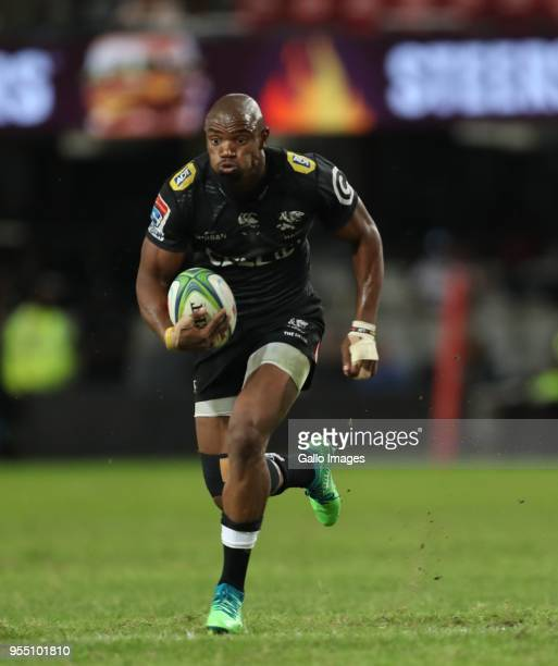 Makazole Mapimpi of the Cell C Sharks during the Super Rugby match between Cell C Sharks and Highlanders at Jonsson Kings Park Stadium on May 05,...