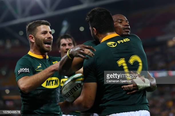 Makazole Mapimpi of the Springboks celebrates scoring a try during The Rugby Championship match between the Australian Wallabies and the South Africa...