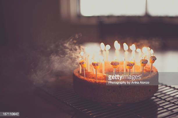 make a wish - birthday cake stock photos and pictures