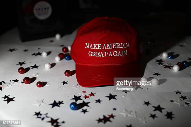 A 'Make America Great Again' hat sits on a table ahead of an election night party for 2016 Republican Presidential Nominee Donald Trump at the Hilton...