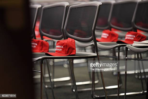 Make America Great Again hats sit on chairs before the start of a morning Republican event at the United States Capitol on Tuesday November 15 2016...