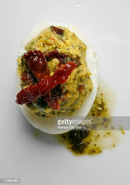 Make good use of those Easter eggs and make pesto with sundried tomatoes topped deviled eggs