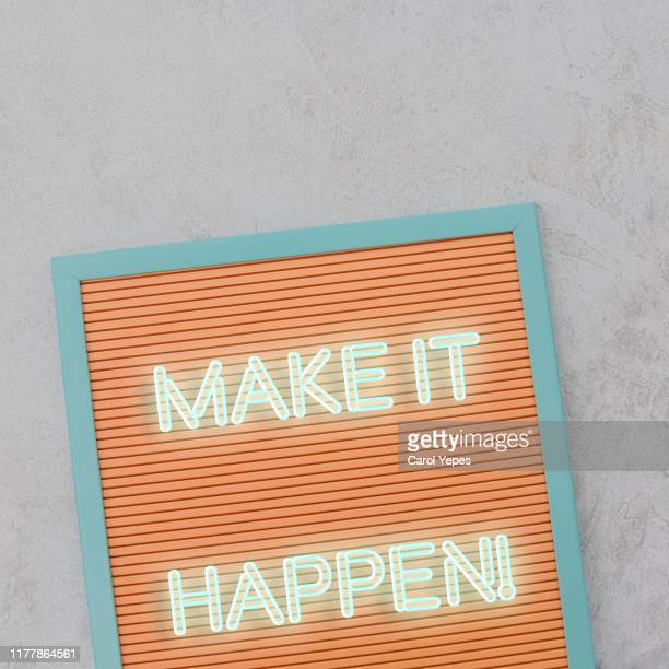 make it happen text in lightbox - initiative stock pictures, royalty-free photos & images