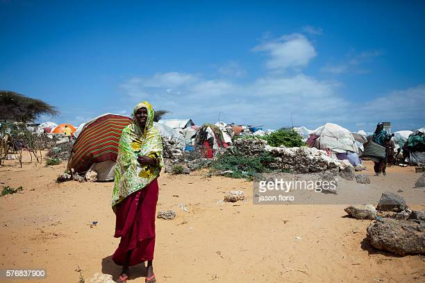 A make shift shelter at Badbaado camp for Internally Displaced Persons in the Dharkeynley district of Mogadishu The IDP camp homes about 30000 people...