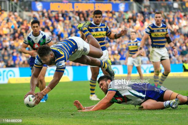 Make Sivo of the Eels scores a try during the round 19 NRL match between the Parramatta Eels and the New Zealand Warriors at Bankwest Stadium on July...