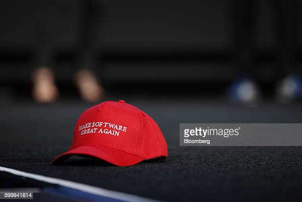 A 'Make Software Great Again' hat sits on stage during a keynote speech by Aaron Levie chief executive officer and cfounder of Box Inc not pictured...