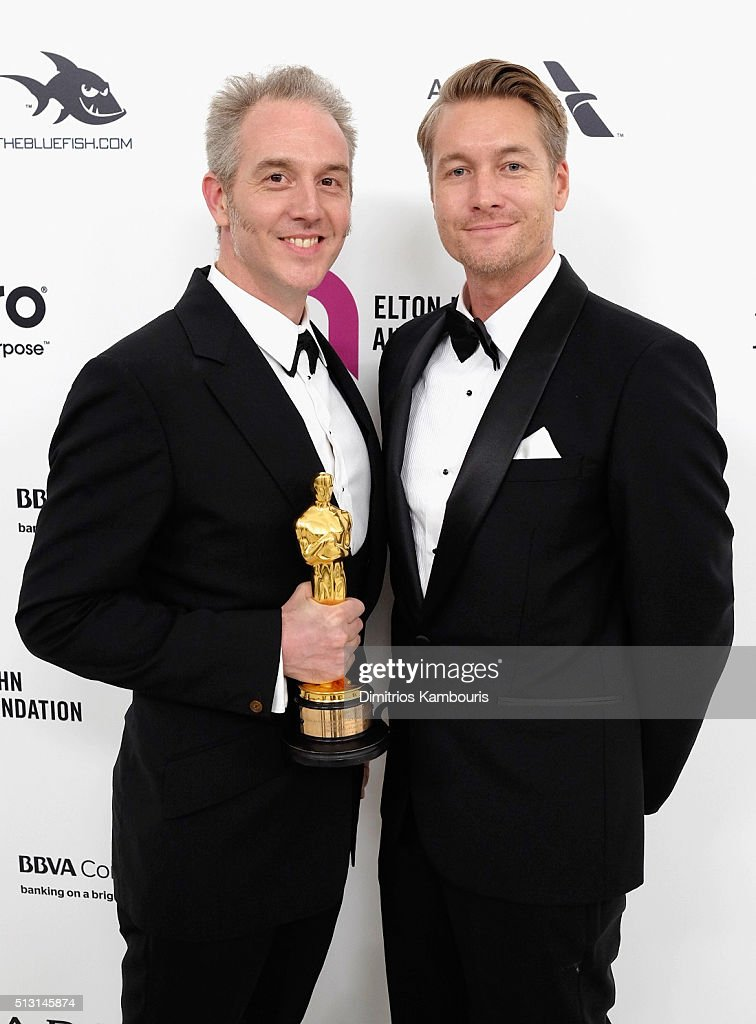 Make up artist Damian Martin (L) attends the 24th Annual Elton John AIDS Foundation's Oscar Viewing Party at The City of West Hollywood Park on February 28, 2016 in West Hollywood, California.