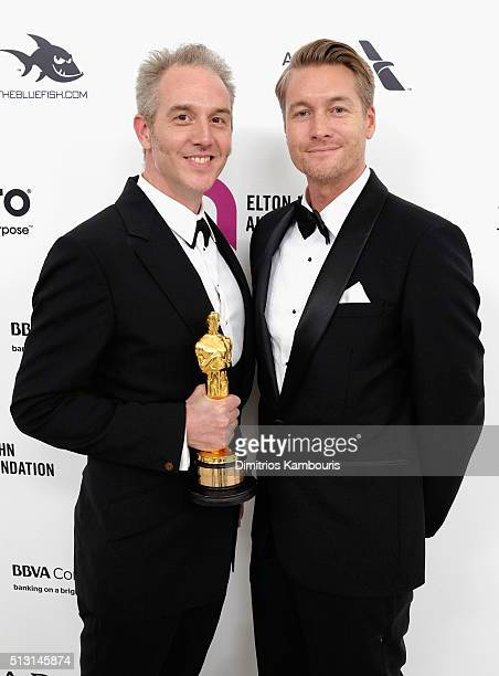 Make up artist Damian Martin attends the 24th Annual Elton John AIDS Foundation's Oscar Viewing Party at The City of West Hollywood Park on February...