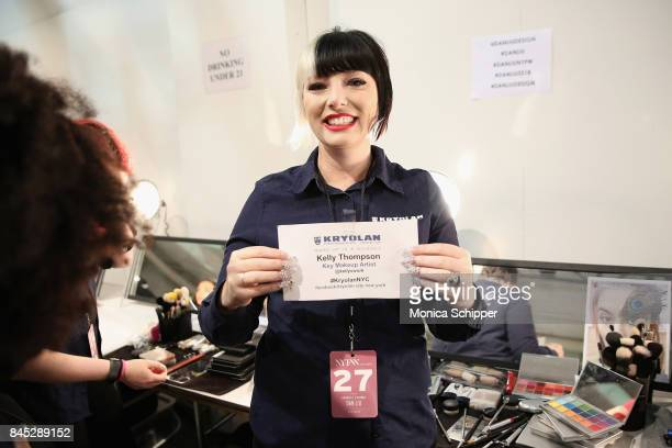 Make up artist Kelly Thompson backstage for Dan Liu fashion show during New York Fashion Week The Shows at Gallery 3 Skylight Clarkson Sq on...