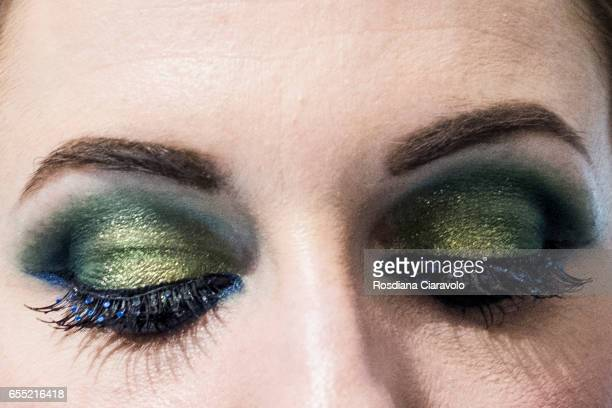 Make up artist make up detail is seen at INGLOT stand during the 50th Cosmoprof on March 18 2017 in Bologna Italy
