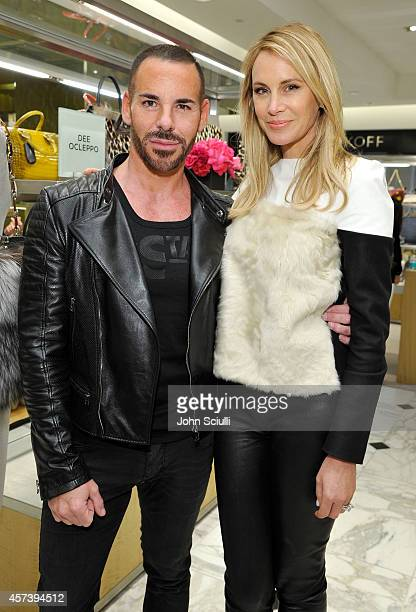 Make up Artist Scott Barnes and Designer Dee Ocleppo attend Dee Ocleppo PA at Saks Fifth Avenue Beverly Hills on October 17 2014 in Beverly Hills...