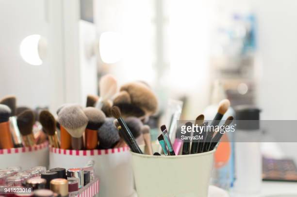 make up brushes - stage make up stock photos and pictures