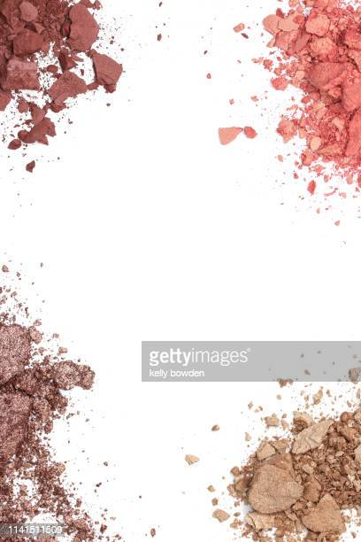 make up cosmetic eyeshadow powder border - eyeshadow stock pictures, royalty-free photos & images