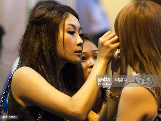 Make up fixing at the party Hong Kong Lan Kwai Fong entertainment district