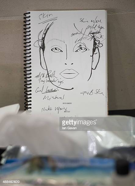 Make up notes are pictured backstage before the Jonathan Saunders show during London Fashion Week Spring Summer 2015 on September 14 2014 in London...