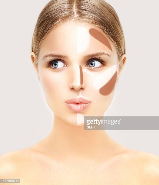 make up woman face. contour and highlight makeup. - stage make up stock photos and pictures
