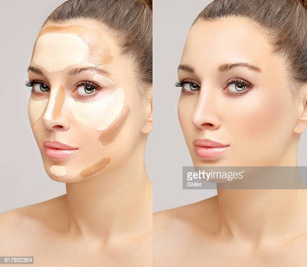 make up woman face. contour and highlight makeup. - stage make up stock pictures, royalty-free photos & images
