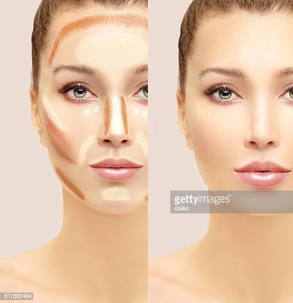 Make-up Frau Gesicht. Contour und die highlight-Make-up.