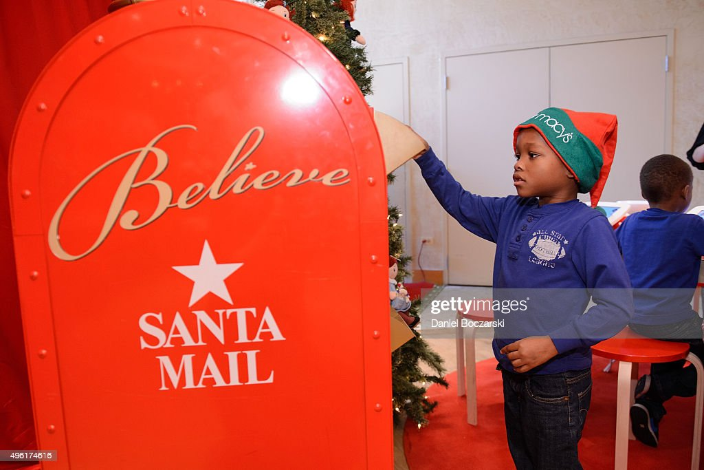 Make-A-Wish child mails his letter to Santa at Macy's on State Street. Macy's will donate a dollar to Make-A-Wish for every letter sent to Santa in store, on November 7, 2015 in Chicago, Illinois.
