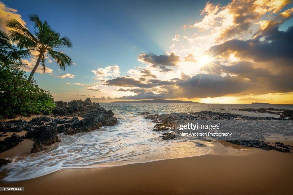 Makena Beach Makena Cove Sunset #1 : Stock Photo