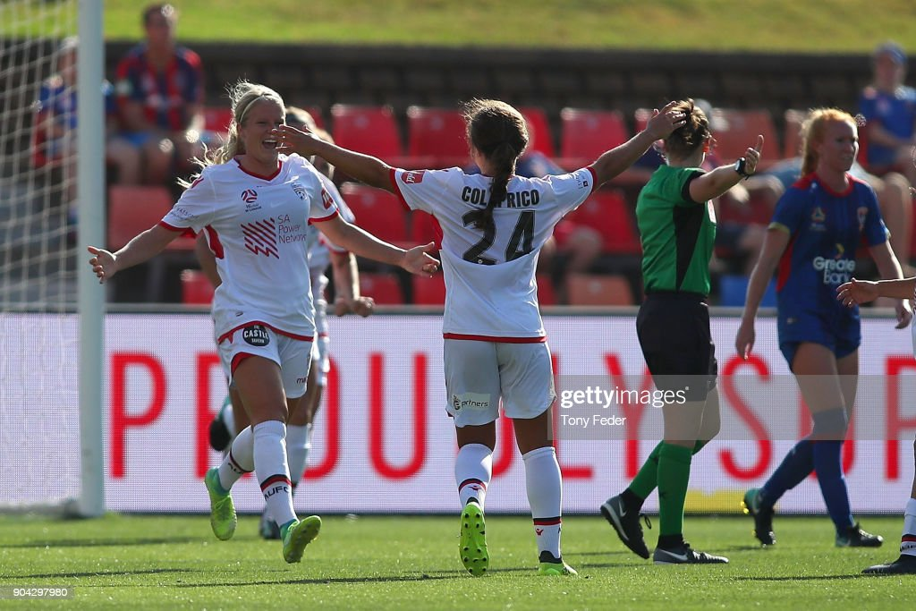 Makenzy Doniak and Danielle Colaprico of Adelaide celebrate a goal during the round 11 W-League match between the Newcastle Jets and Adelaide United at McDonald Jones Stadium on January 12, 2018 in Newcastle, Australia.